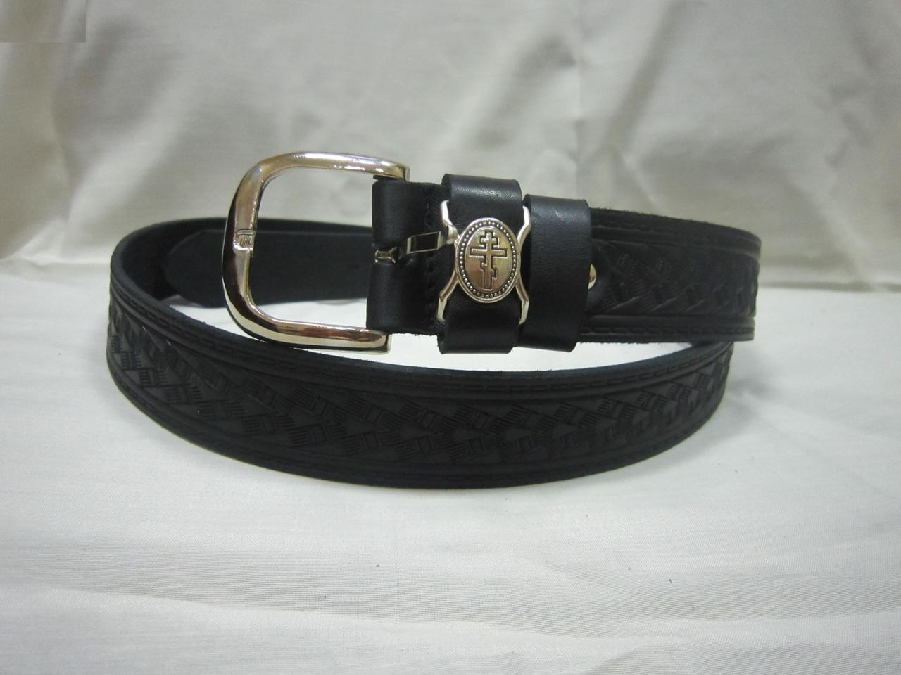 c901b5cf0e29 Купить Ремень кожаный черный 35 мм, мужской с кожанным бегунком ...